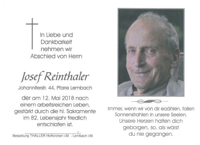 Sterbebild Reinthaler Josef