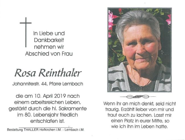 Sterbebild Reinthaler Rosa Innen