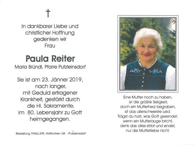 Sterbebild Reiter Paula Innenseite