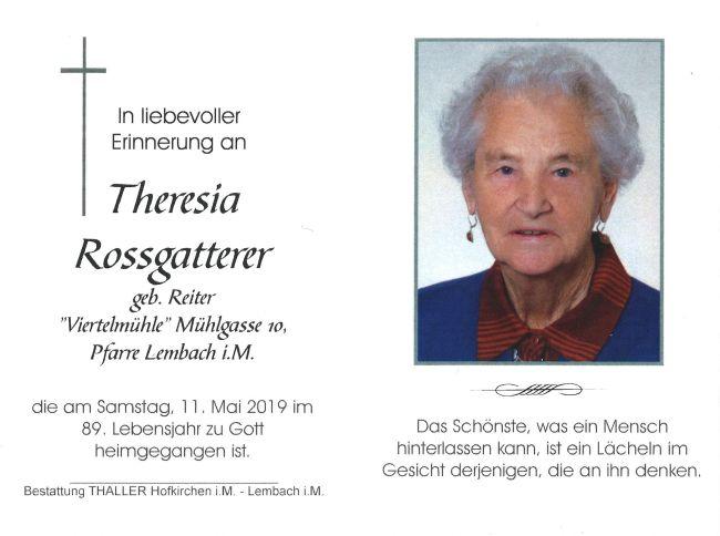 Sterbebild Rossgatterer Theresia innen