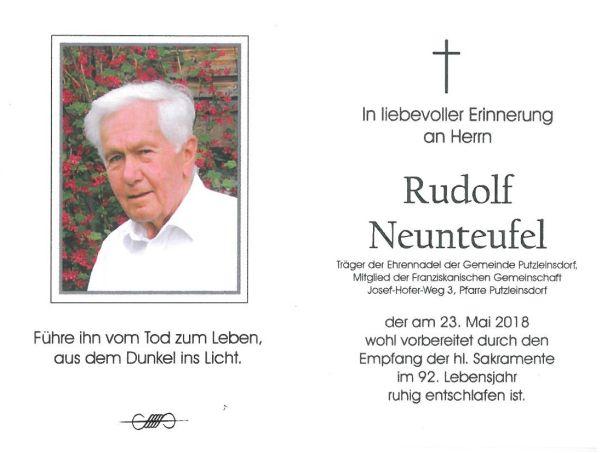 Sterbebild Rudolf Neunteufel