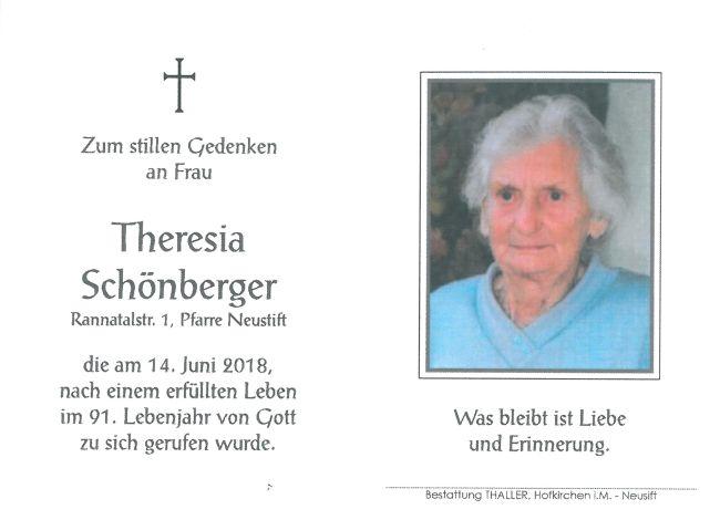 Sterbebild Schönberger Theresia
