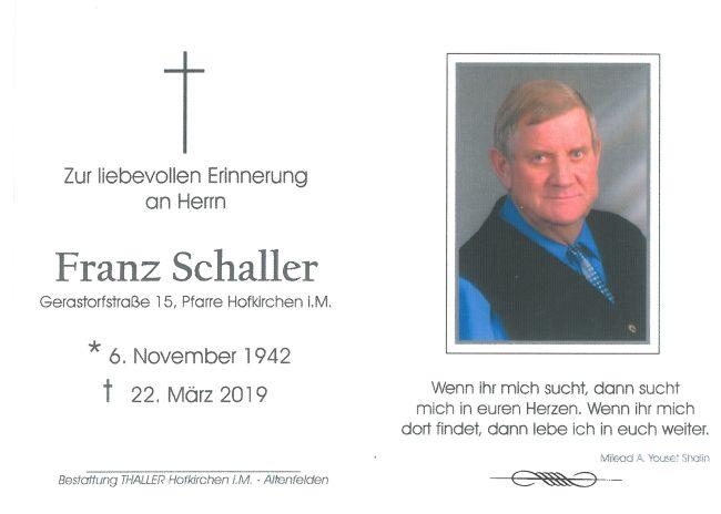 Sterbebild Schaller Franz