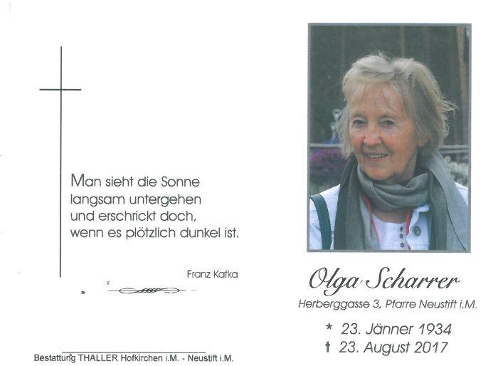 Sterbebild Scharrer Olga