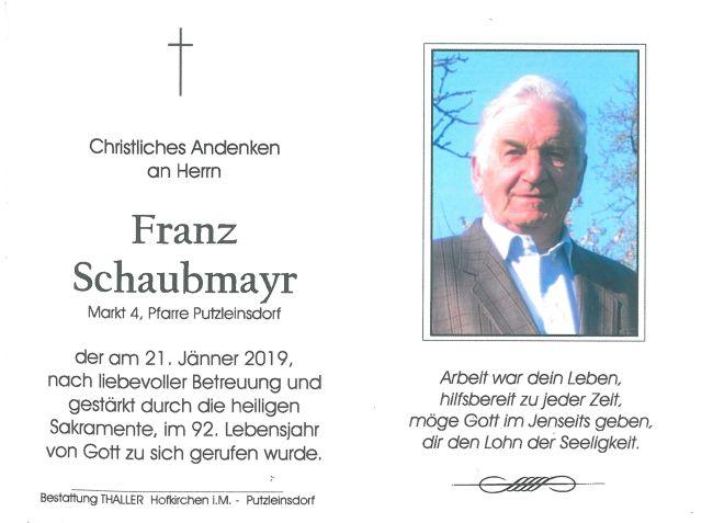 Sterbebild Schaubmayr Franz