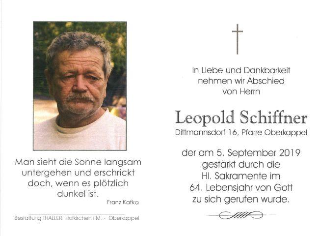 Sterbebild Schiffner Leopold
