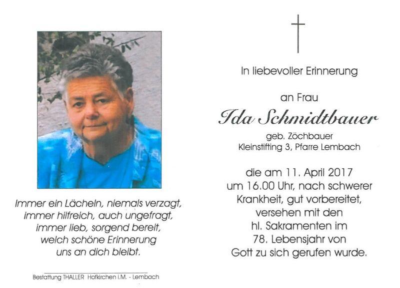 Sterbebild Schmidtbauer Ida