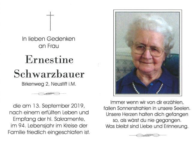 Sterbebild Schwarzbauer Ernestine
