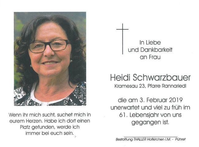 Sterbebild Schwarzbauer Heidi