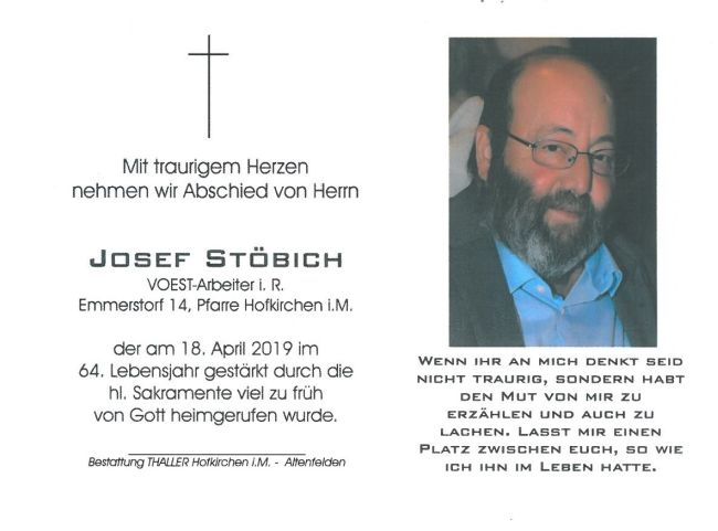 Sterbebild Stöbich Josef Innenseite