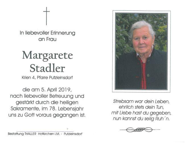 Sterbebild Stadler Margarete