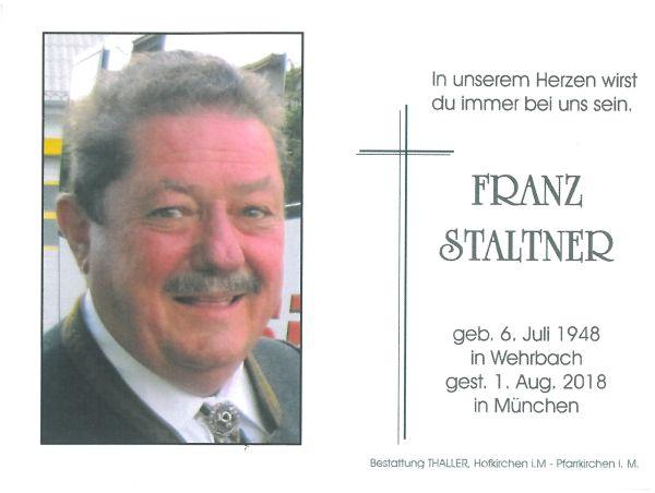 Sterbebild Staltner Franz