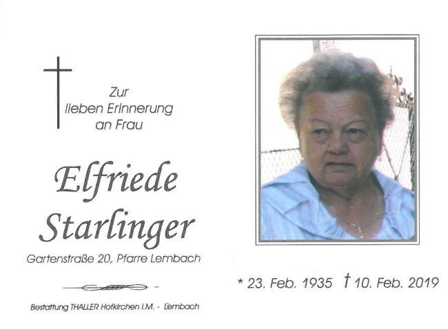 Sterbebild Starlinger Elfriede