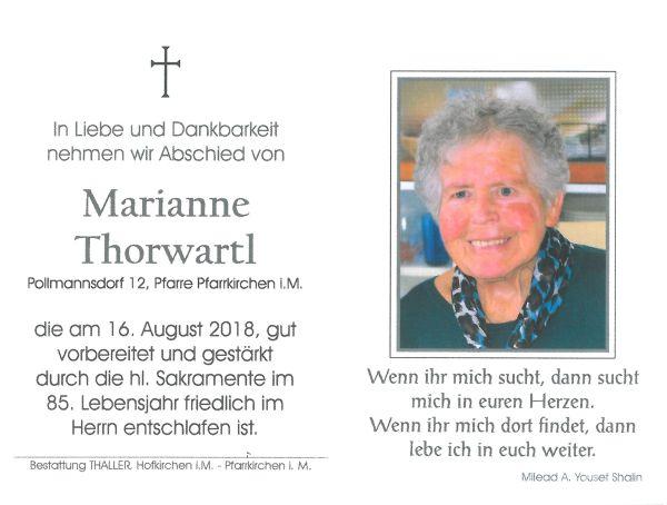 Sterbebild Thorwartl Marianne