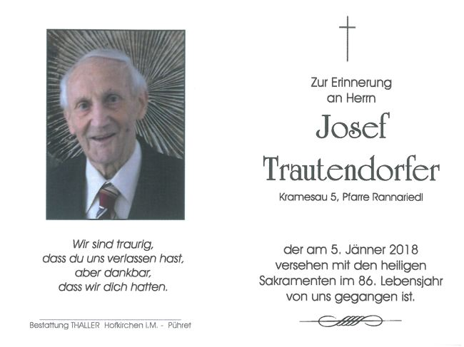 Sterbebild Trautendorfer Josef