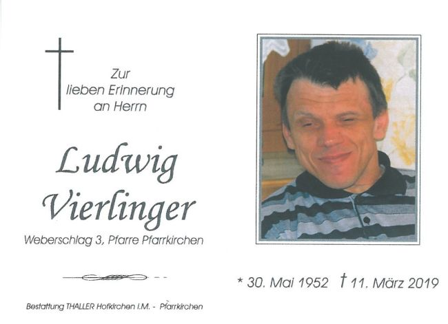 Sterbebild Vierlinger Ludwig