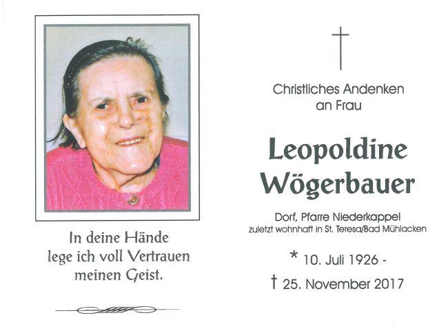 Sterbebild Wögerbauer Leopoldine