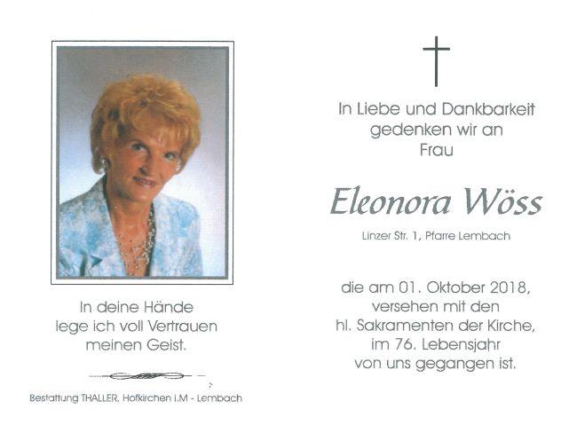 Sterbebild Wöss Eleonore