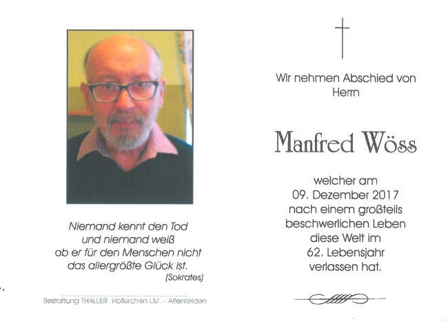 Sterbebild Wöss Manfred