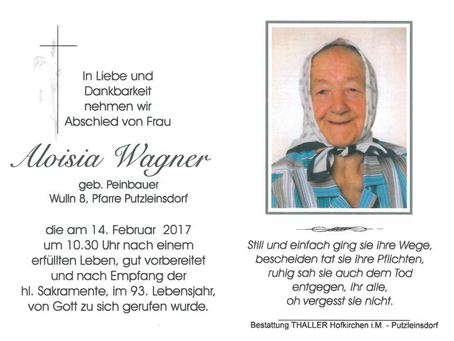 Sterbebild Wagner Aloisia