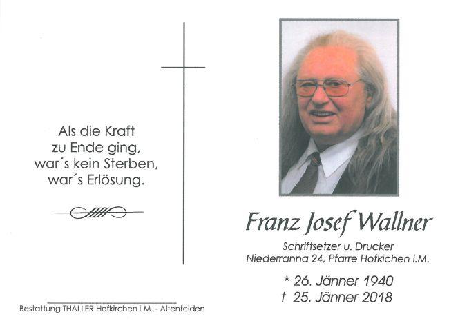 Sterbebild Wallner Franz Josef