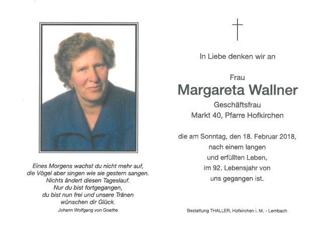 Sterbebild Wallner Margareta