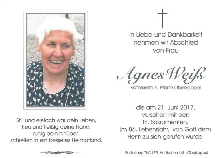 Sterbebild Weiß Agnes