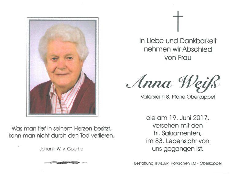 Sterbebild Weiß Anna Vatersreith