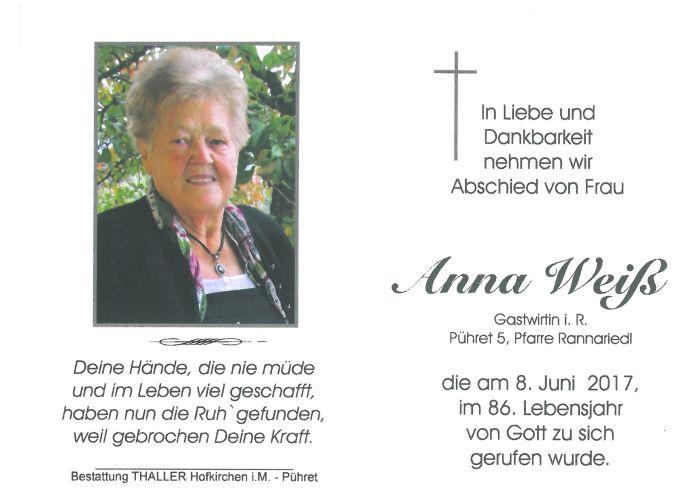 Sterbebild Weiß Anna