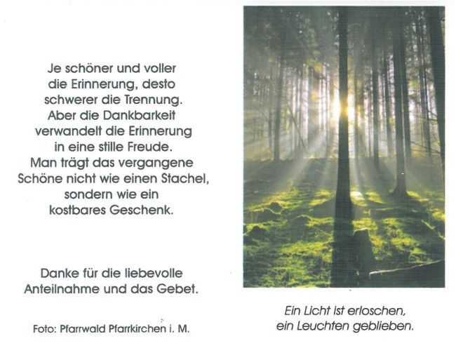 Sterbebild Weingartmann Franz Außenseite