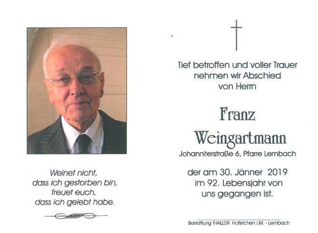 Sterbebild Weingartmann Franz Innenseite