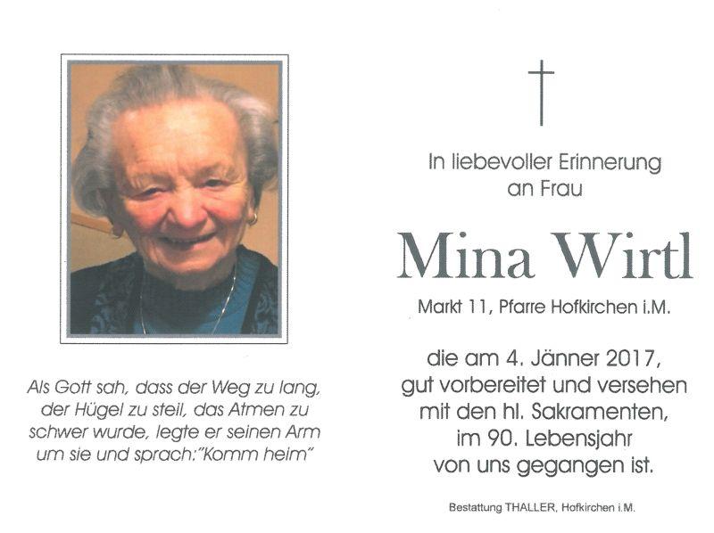 Sterbebild Wirtl Mina