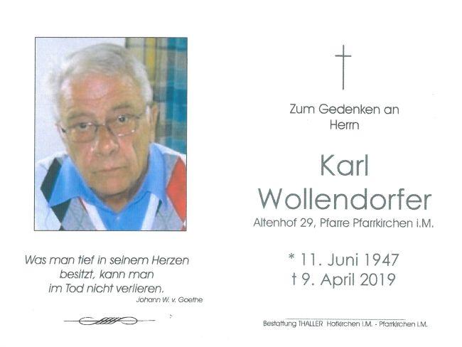 Sterbebild Wollendorfer Karl