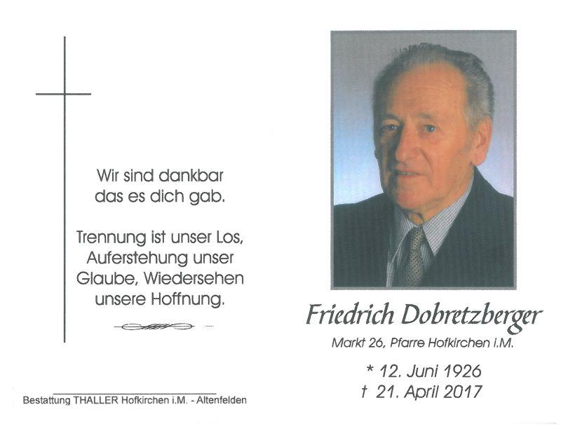 Sterbebild Dobretzberger Friedrich