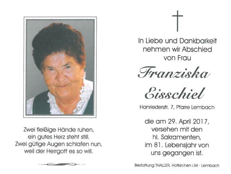 Sterbebild Eisschiel Franziska