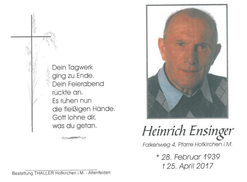 Sterbebild Ensinger Heinrich
