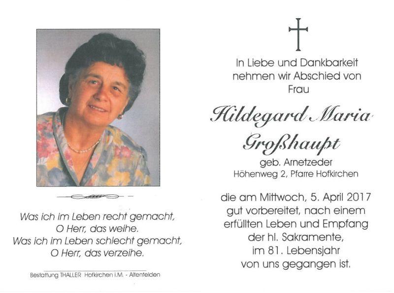 Sterbebild Hildegard Großhaupt