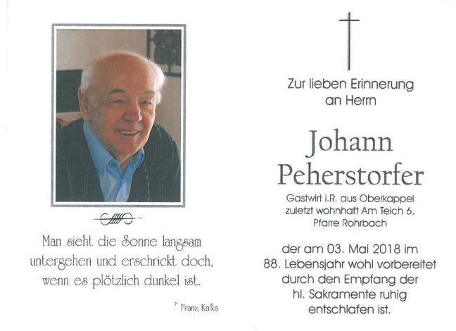 Sterbebild Peherstorfer Johann