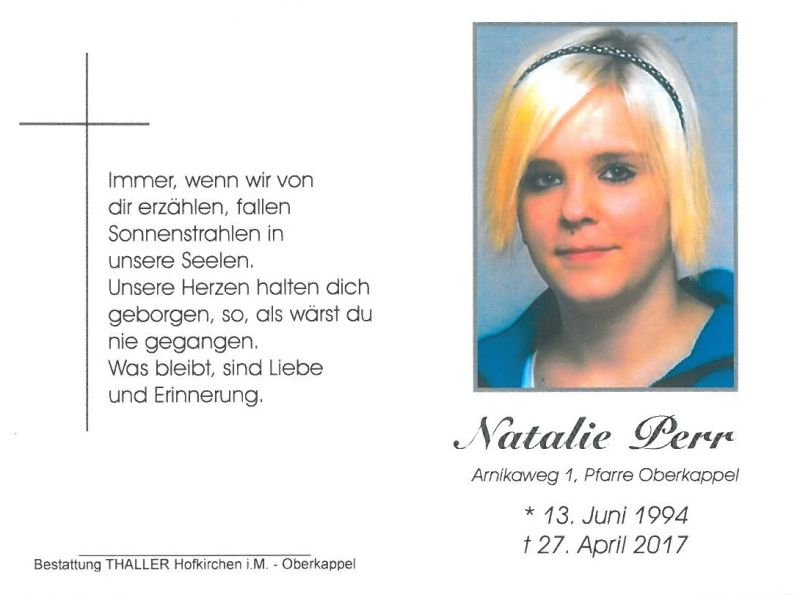 Sterbebild Perr Natalie