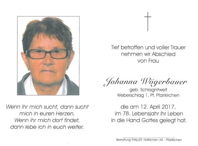 Sterbebild Wögerbauer Johanna