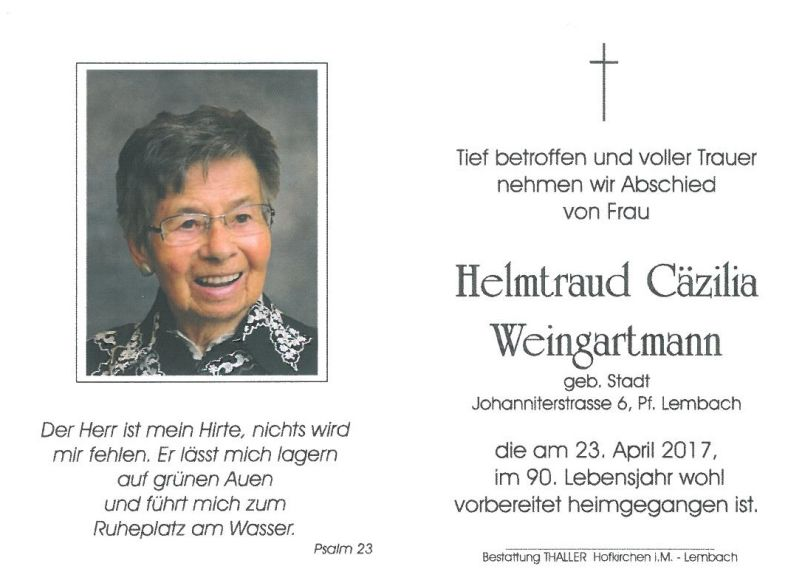 Sterbebild Weingartmann Helmtraud