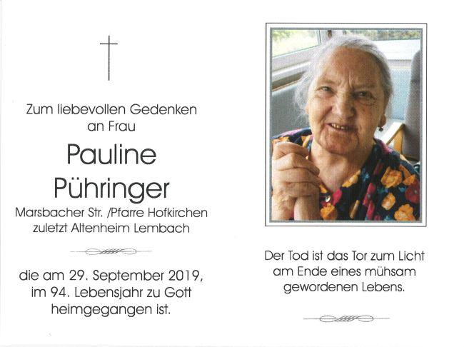 Sterbebericht Pühringer Pauline