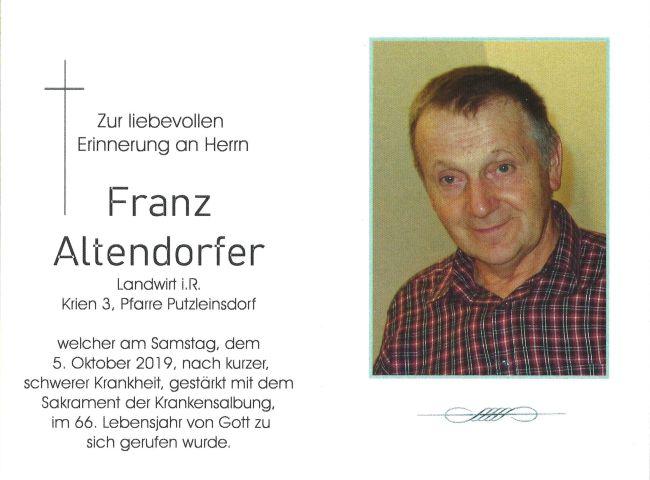 Sterbebild Altendorfer Fanz