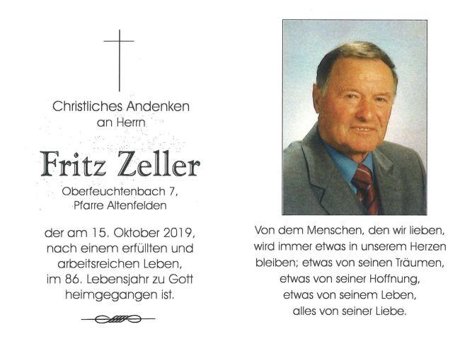 Sterbebild Fritz Zeller