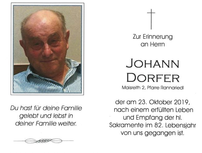Sterbebild Johann Dorfer