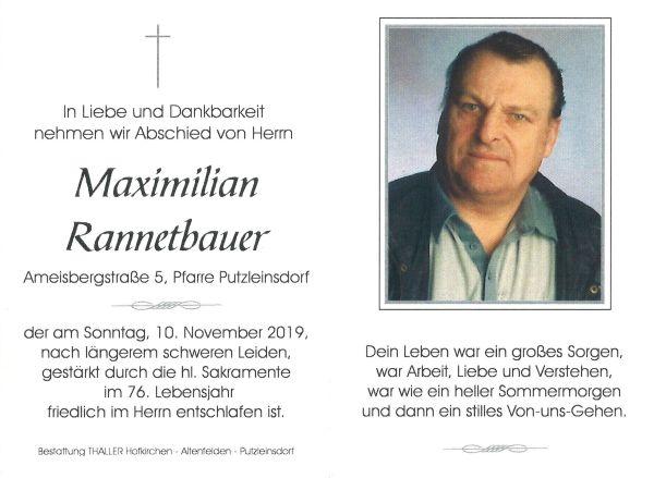 Sterbebild Maximilian Rannestbauer