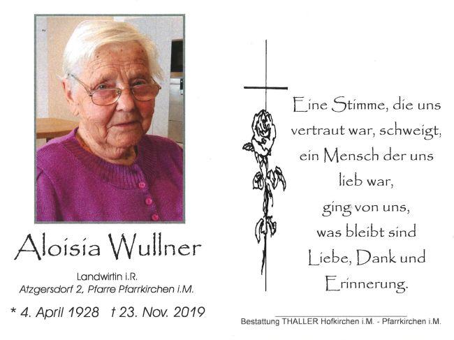 Sterbebild innen Aloisia Wullner