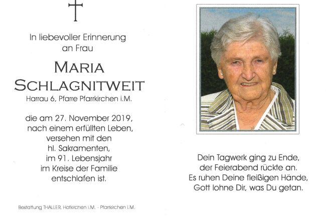 Sterbebild Maria Schlagnitweit
