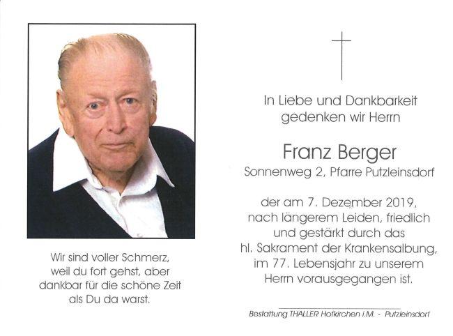 Sterbebild innen Franz Berger