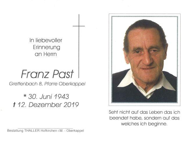Sterbebild Franz Past